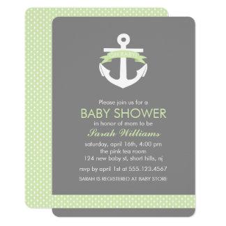 Green Anchor Nautical Theme Baby Shower 13 Cm X 18 Cm Invitation Card