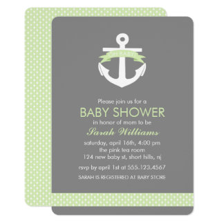 Green Anchor Nautical Theme Baby Shower Card