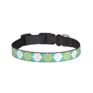 Green and Aqua Argyle Pattern Pet Collar