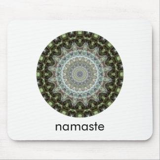 Green and Aqua Round Mandala Art Namaste Mouse Pad