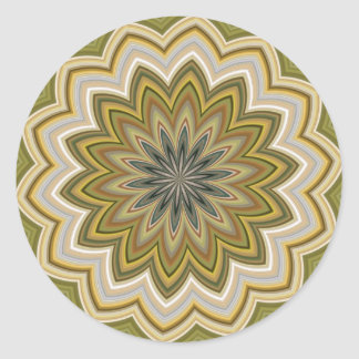 Green And Beige Abstract Flower Round Sticker