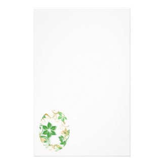 Green and Beige Brushed Flowers 2 Customized Stationery