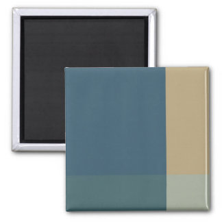 Green and Beige Color Blocks Square Magnet