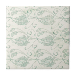 Green and Beige Paisley Print Small Square Tile
