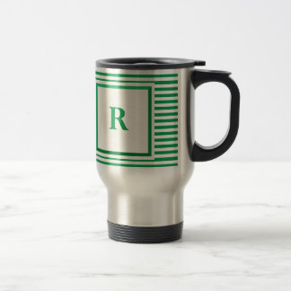 Green and Beige Striped R monogram Travel Mug