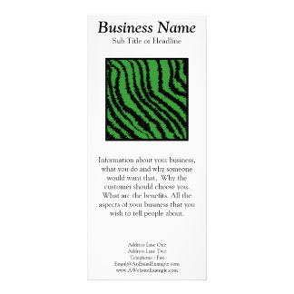 Green and black abstract stripes pattern custom rack card