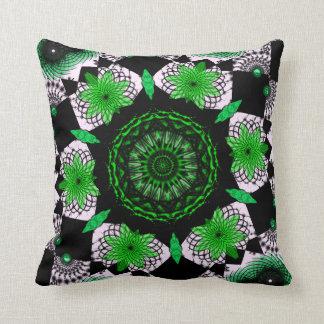 Green and Black and White Mandala Abstract Cushion