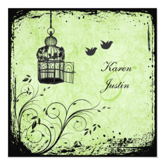 Green and Black Birdcage and Lovebirds Invitation