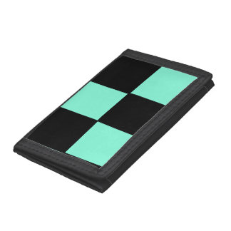 Green and Black Checkered Tri-fold Wallet