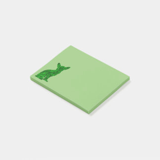 Green and Black Chihuahua Silhouette Post-it Notes