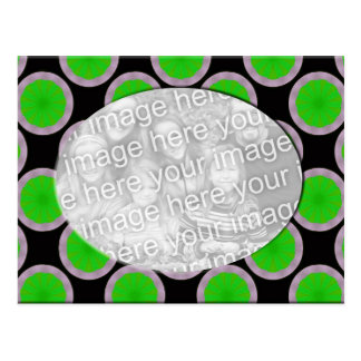 green and black circles photo frame postcard