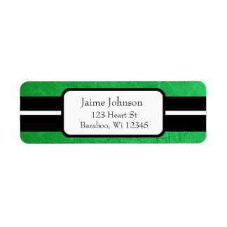 Green and Black Classy  Return Address Sticker Return Address Label