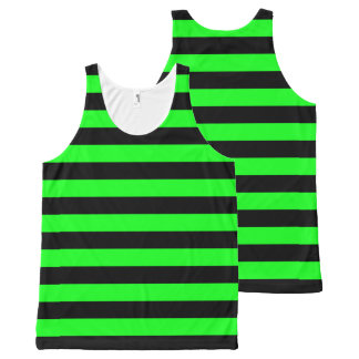 Green and Black Coloured striped pattern All-Over Print Singlet