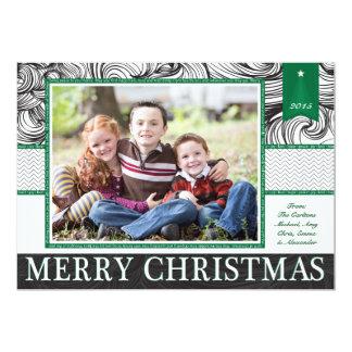 Green and Black Elegant Christmas Photo Card 13 Cm X 18 Cm Invitation Card