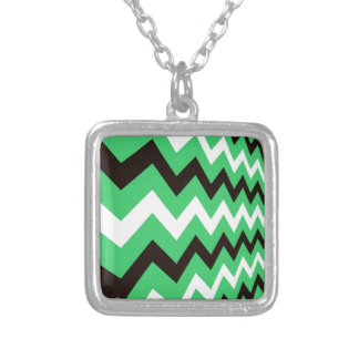 Green and Black Fast Lane Zigzags Square Pendant Necklace
