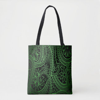 Green and Black Floral Abstract Design Tote Bag