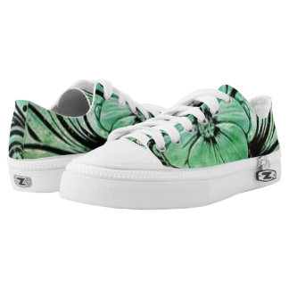 Green and Black Floral Low Tops