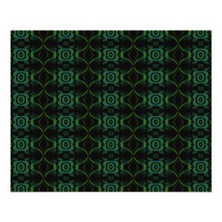 Green and black floral pattern. 11.5 cm x 14 cm flyer