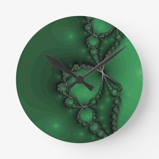 Green and Black Fractal Jewels Round Wall Clocks
