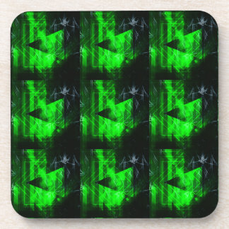 Green and Black Geometrical Abstract Pattern Beverage Coaster