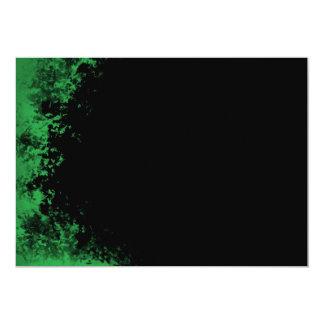 "Green and Black Grunge Brush 2 Invitation 5"" X 7"" Invitation Card"