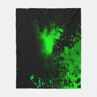 Green and Black Grunge Custom Fleece Blanket