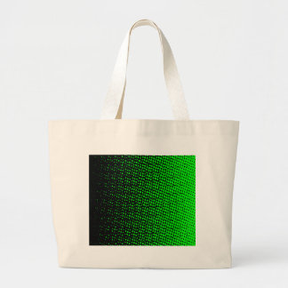 Green And Black Halftone Large Tote Bag