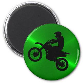 Green and Black MotoCross Magnet