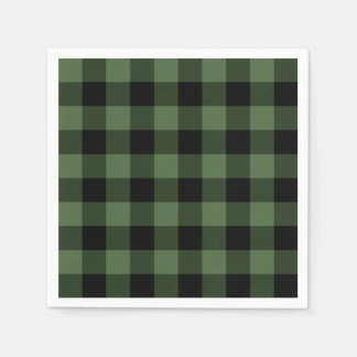 Green and Black Plaid Disposable Serviettes