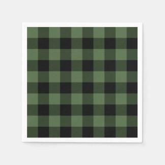 Green and Black Plaid Paper Napkin