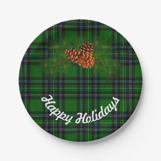 Green and Black plaid - pine cones Paper Plate