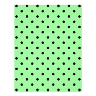 Green and Black Polka Dot Pattern Personalized Flyer