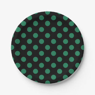 Green and black polka dots 7 inch paper plate