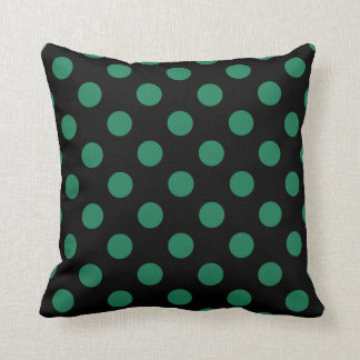 Green and black polka dots cushion
