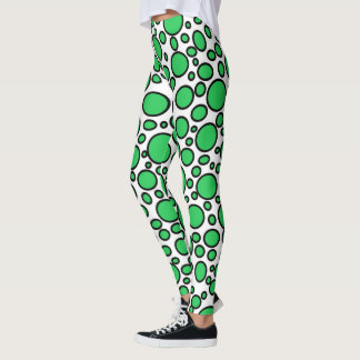 Green and Black Polka Dots Leggings