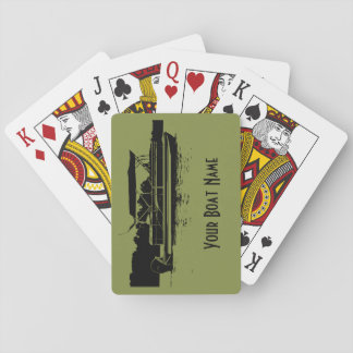 Green and Black Pontoon Boat Playing Cards