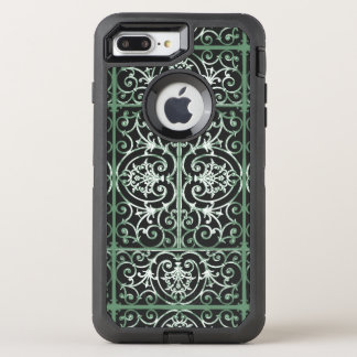 Green and black scrollwork pattern OtterBox defender iPhone 7 plus case