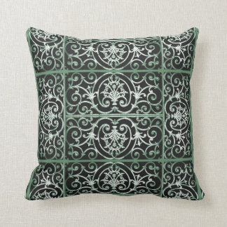 Green and black scrollwork pattern throw pillow