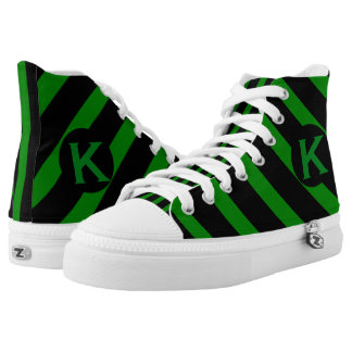 Green and Black Striped Pattern Monogram High Tops
