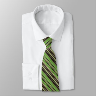 Green and Black Striped Pattern Tie