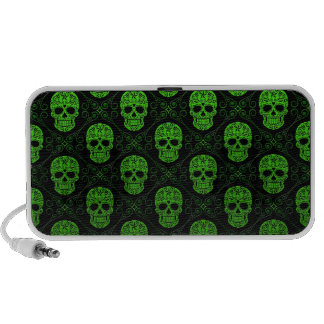 Green and Black Sugar Skull Pattern Notebook Speaker