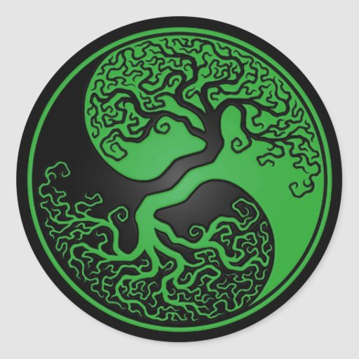 Green and Black Tree of Life Yin Yang Round Sticker