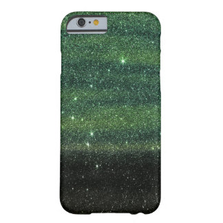 Green and Black Trendy Gradient Glitter Barely There iPhone 6 Case