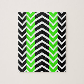 Green and Black Whale Chevron Jigsaw Puzzle