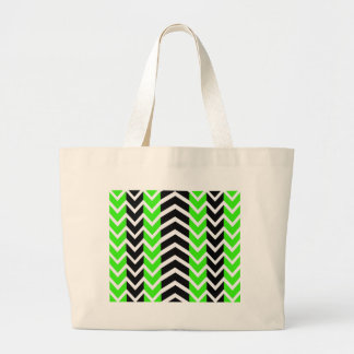 Green and Black Whale Chevron Large Tote Bag