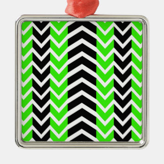 Green and Black Whale Chevron Metal Ornament