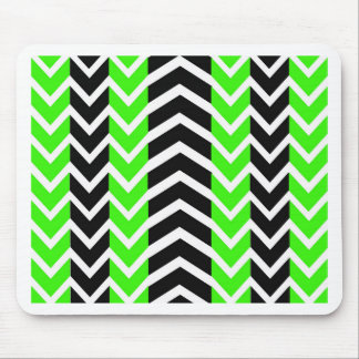 Green and Black Whale Chevron Mouse Pad