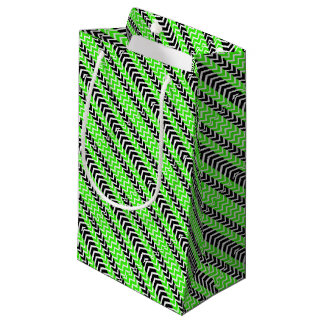 Green and Black Whale Chevron Small Gift Bag