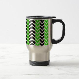Green and Black Whale Chevron Travel Mug