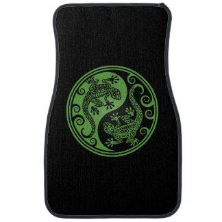 Green and Black Yin Yang Lizards Floor Mat